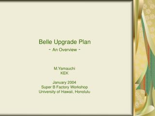 Belle Upgrade Plan         -  An Overview  -
