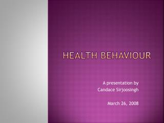 Health Behaviour