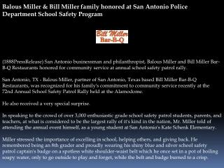 Balous Miller & Bill Miller family honored at San Antonio Po