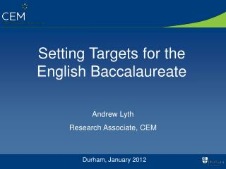 Setting Targets for the English Baccalaureate