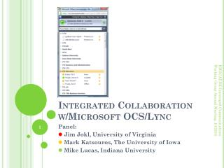 Integrated Collaboration w/Microsoft OCS/Lync
