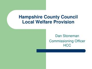 Hampshire County Council Local Welfare Provision