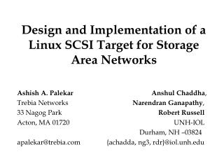 Design and Implementation of a Linux SCSI Target for Storage Area Networks