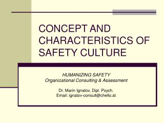 CONCEPT AND CHARACTERISTICS OF SAFETY CULTURE