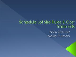 Schedule Lot Size Rules  Cost Trade-offs