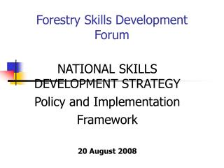 Forestry Skills Development Forum