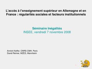 Séminaire Inégalités INSEE, vendredi 7 novembre 2008
