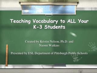 Teaching Vocabulary to ALL Your K-3 Students