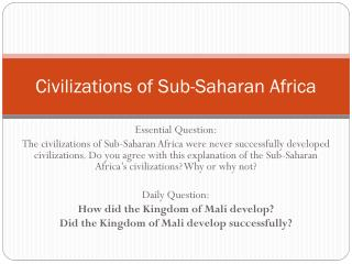 Civilizations of Sub-Saharan Africa