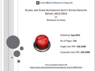 Automotive Safety System Market Worth USD26 Billion By 2014