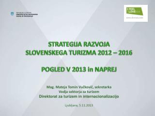 STRATEGIJA RAZVOJA  SLOVENSKEGA TURIZMA 2012 – 2016 POGLED V 2013 in NAPREJ