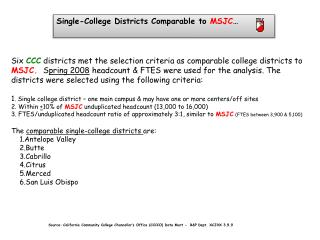 Single-College Districts Comparable to  MSJC …