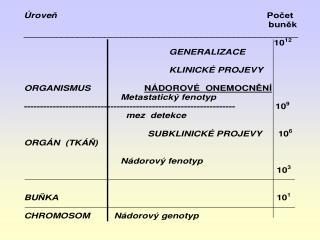 NÁDOROVÝ  GENOTYP      výsledek nahromadění  mutací (alterací) genů pro kontrolu