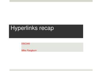 Hyperlinks recap