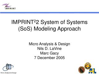IMPRINT 2 2 System of Systems (SoS) Modeling Approach