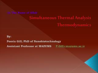 Simultaneous Thermal Analysis Thermodynamics