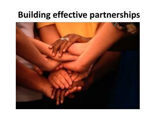 Building effective partnerships