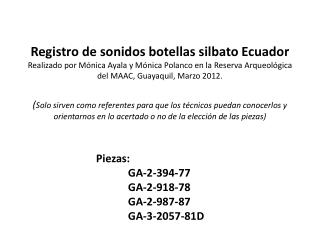 Piezas: GA-2-394-77 GA-2-918-78 GA-2-987-87 GA-3-2057-81D