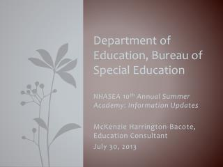 Department of Education, Bureau of Special Education