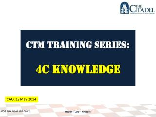 CTM Training SERIES: 4C Knowledge