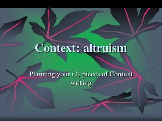 Context: altruism