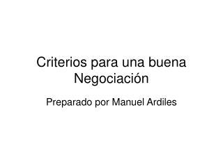 Criterios para una buena Negociación