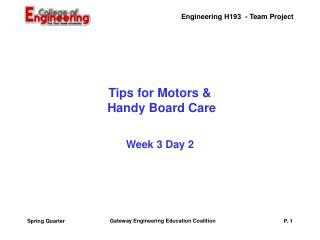 Tips for Motors &  Handy Board Care