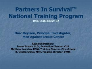 Partners In Survival™ National Training Program U58/CCU323069-02
