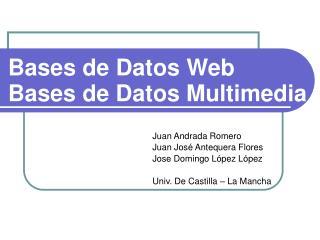 Bases de Datos Web Bases de Datos Multimedia