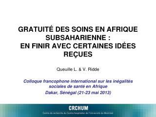 Colloque francophone international sur les inégalités sociales de santé en Afrique