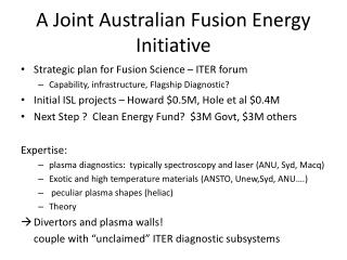 A Joint Australian Fusion Energy Initiative