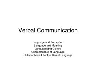 Verbal Communication
