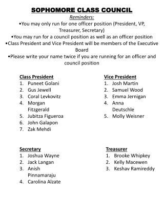 SOPHOMORE CLASS COUNCIL Reminders: •You may only run for one officer position (President, VP,
