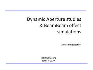 Dynamic Aperture studies & BeamBeam effect simulations