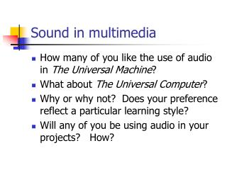 Sound in multimedia