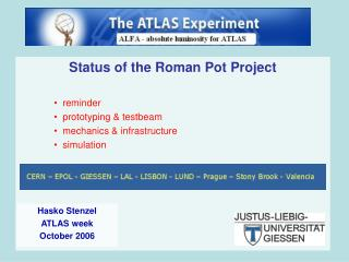 Status of the Roman Pot Project reminder  prototyping & testbeam mechanics & infrastructure