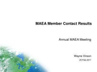 MAEA Member Contact Results