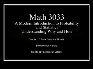 Math 3033 A Modern Introduction to Probability and Statistics Understanding Why and How