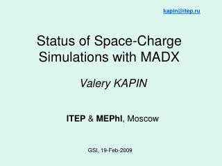 Status of Space-Charge Simulations with MADX