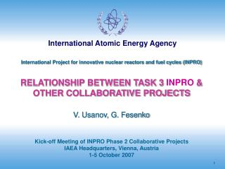 International Project for innovative nuclear reactors and fuel cycles (INPRO)