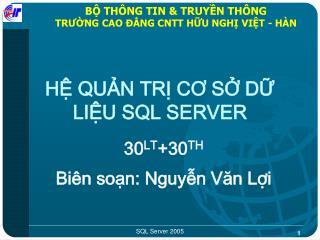 BỘ THÔNG TIN & TRUYỀN THÔNG TRƯỜNG CAO ĐẲNG CNTT HỮU NGHỊ VIỆT - HÀN