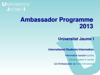 Ambassador Programme 2013