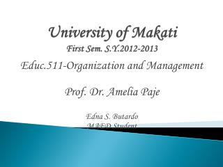 University of Makati First Sem. S.Y.2012-2013
