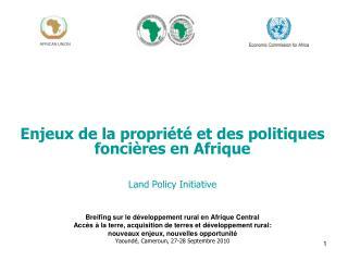 Enjeux de la propriété et des politiques foncières en Afrique Land Policy Initiative