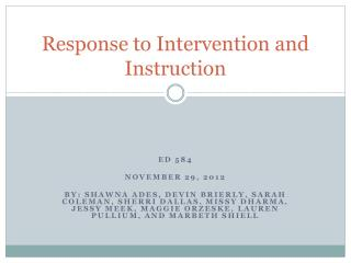 Response to Intervention and Instruction