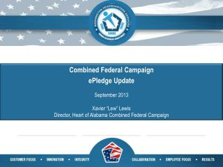 "Combined Federal Campaign  ePledge  Update September 2013 Xavier ""Lew"" Lewis"