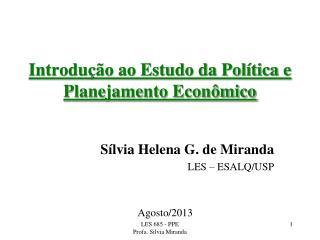 Introdução ao Estudo da Política e Planejamento Econômico