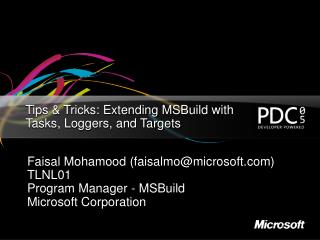 Tips  Tricks: Extending MSBuild with Tasks, Loggers, and Targets