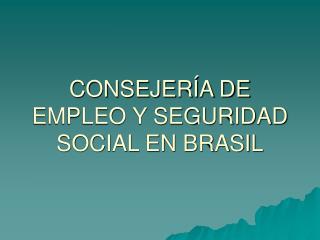 CONSEJERÍA DE EMPLEO Y SEGURIDAD SOCIAL EN BRASIL