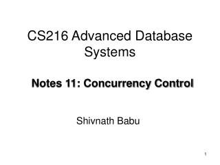 CS216 Advanced Database Systems